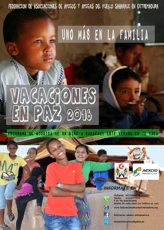 Programa de Acogida de un niño/a Saharaui este verano 2016 en tu casa