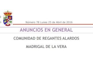 Junta General Ordinaria Comunidad de Regantes Alardos de Madrigal de la Vera