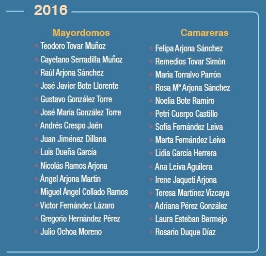 Mayordomos y Camareras 2016