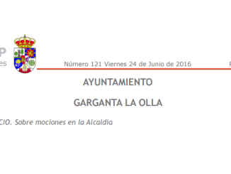 Mociones en la Alcaldía del Ayuntamiento de Garganta la Olla