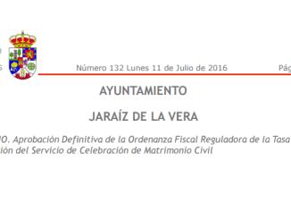 Aprobación Definitiva de la Ordenanza Fiscal Reguladora de la Tasa por la Prestación del Servicio de Celebración de Matrimonio Civil