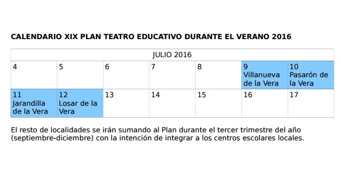 CALENDARIO XIX PLAN TEATRO EDUCATIVO DURANTE EL VERANO 2016