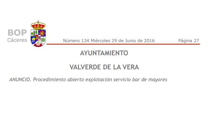 Procedimiento abierto explotación servicio bar de mayores Valverde de la Vera