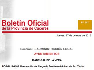 Renovación del Cargo de Sustituto del Juez de Paz Titular en Madrigal de la Vera