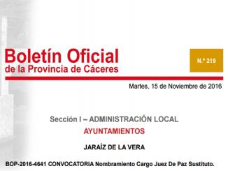 BOP-2016-4641 CONVOCATORIA Nombramiento Cargo Juez De Paz Sustituto.