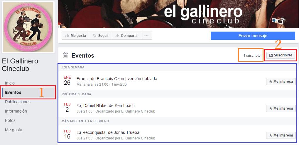 Como Suscribirte a los Eventos del Cine Club el Gallinero