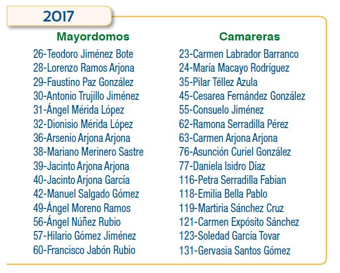 Programa  Mayordomos y Camareras del año 2017 - Hermandad de Madrid de la Virgen del Salobrar