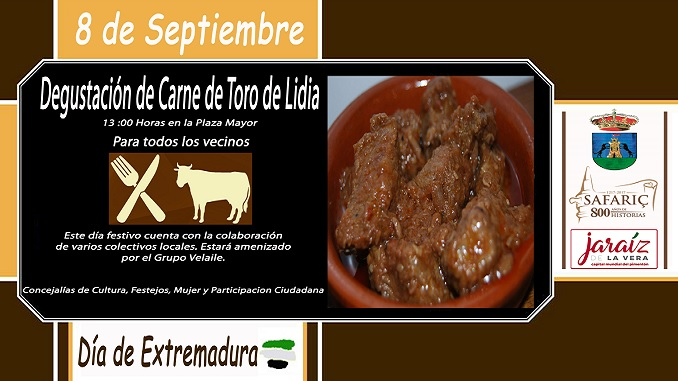 Degustación de la carne de toro de lidia en el Día de Extremadura en Jaraíz de la Vera
