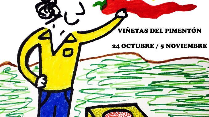 Exposición de dibujos con viñetas por Jairo Jiménez en el Museo del Pimentón
