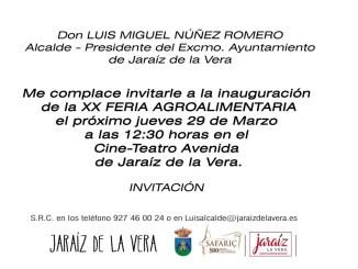 Invitación Oficial de la XX Feria Agroalimentaria 2018