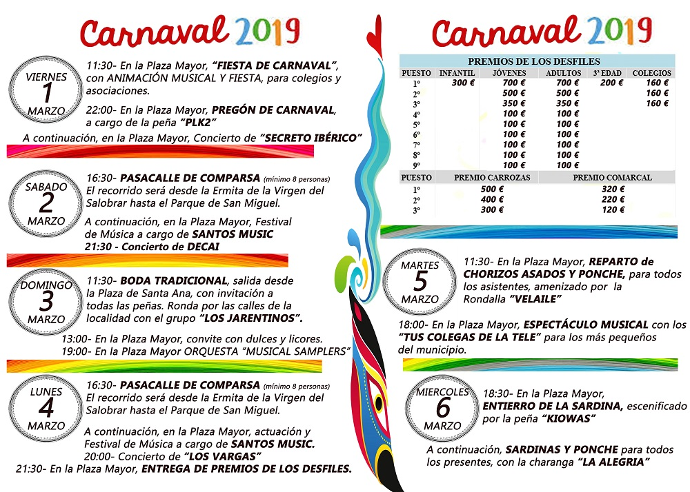 Programación completa del Carnaval de Jaraíz de la Vera 2019