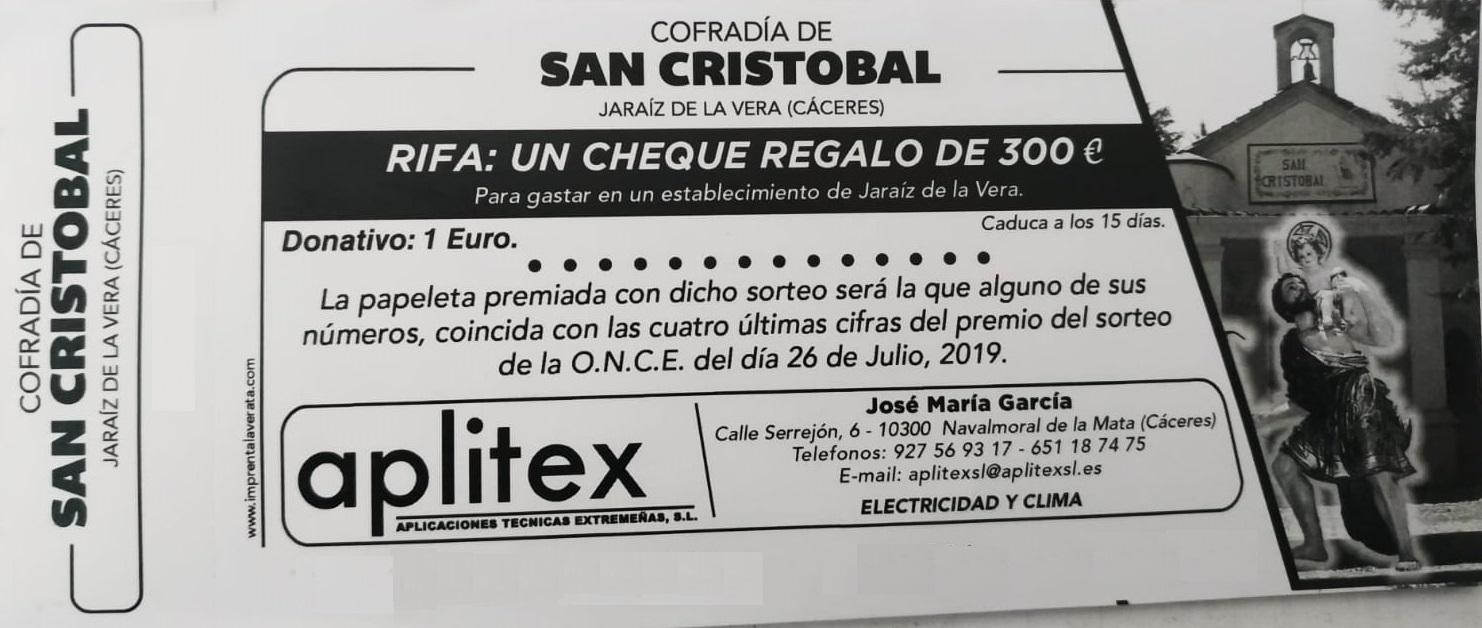 Rifa de un Cheque Regalo de 300 euros - Cofradía de San Cristóbal de Jaraíz de la Vera