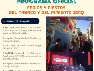 Programación completa de hoy Martes 1 de agosto del 2019 de la Ferias y Fiestas del Tabaco y del Pimiento