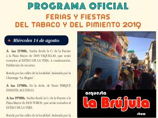Programación completa de hoy Miércoles 14 de agosto del 2019 de la Ferias y Fiestas del Tabaco y del Pimiento