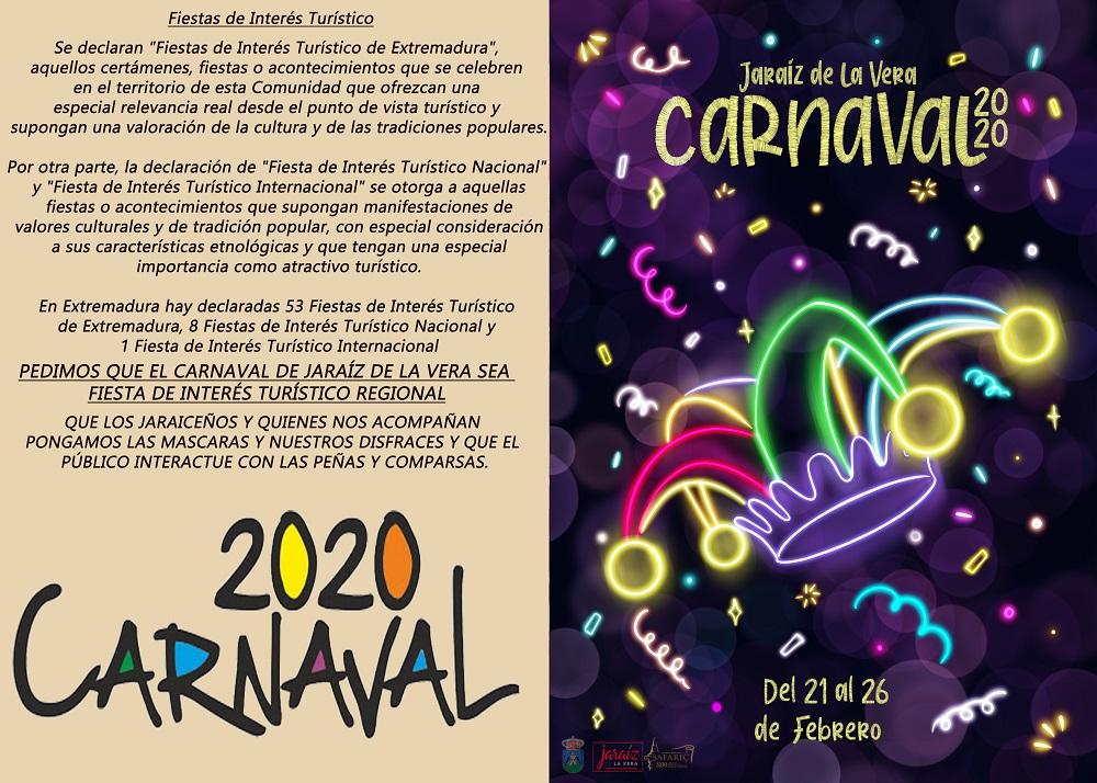 El Carnaval de Jaraíz vuelve a manifestar su interés en convertirse en Fiesta de Interés Turístico Regional
