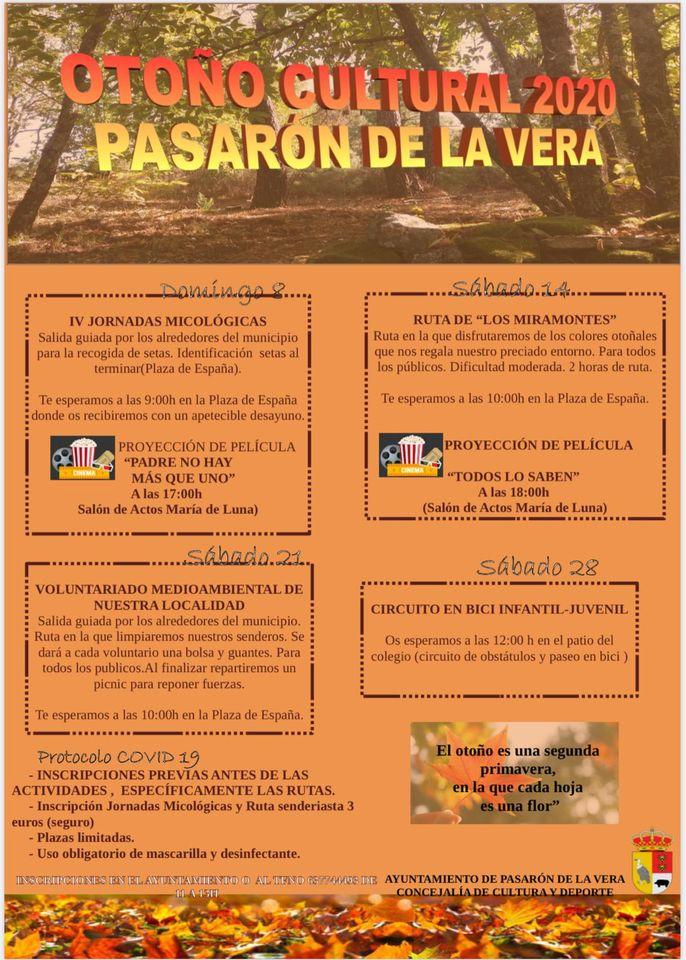 Suspendida la programación del Otoño Cultural de Pasaron de la Vera