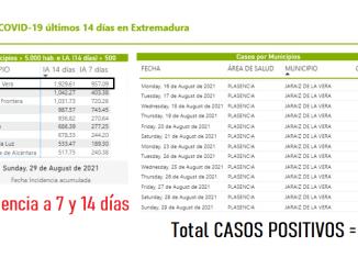 Casos Positivos en Jaraiz a 30 de agosto del 2021 - SES