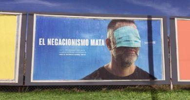 """""""El negacionismo mata"""": impactante campaña de concientización contra el coronavirus en La Pampa"""