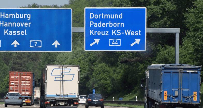 cuatro, formas, pagar, circular, camión, Alemania,