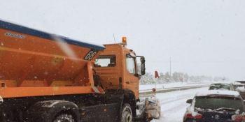 restringido, paso, camiones, A-23, nieve