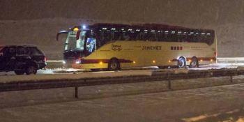 conductor, autobús, atasco, nevada, A-12,