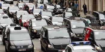manifestación, protestas, taxistas, Bruselas, Uber,