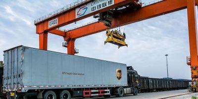 Hong Kong, UPS, servicio, ferroviario, Europa,