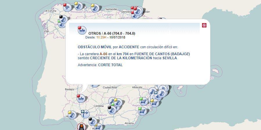 Fuente de Cantos, cortada, A-66, accidente, camión, turismo,