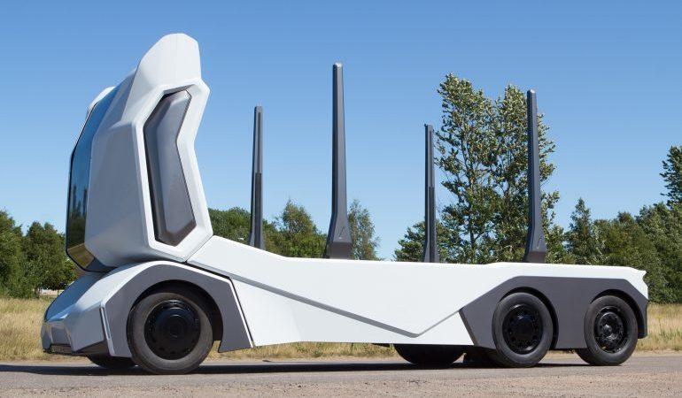T-log, camión, eléctrico, autónomo, conductor, diseñado, carecer,