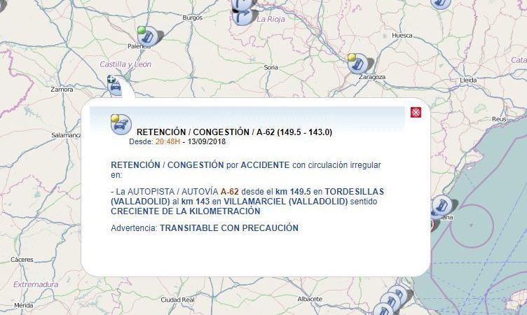 retenciones, A-62, colisión, camiones, furgoneta,