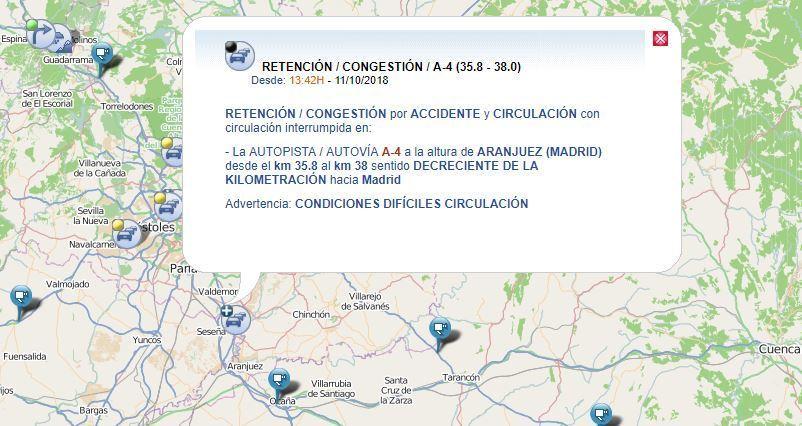 cortada, A-4, Aranjuez, colisión, camiones