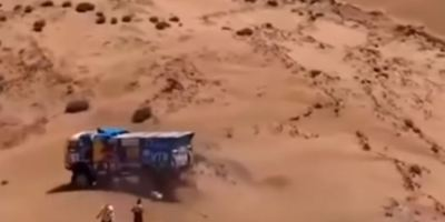 dramático,. accidente, Dakar 2019, espectador, camión, atropella, sucesos, vídeos