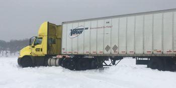 camión, atrapado, lago, helado, instrucciones, GPS,