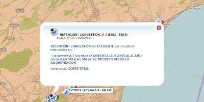 cortada, A-7, dirección, Alicante, vuelco, camión,