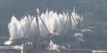 espectacular, demolición, puente Morandi, Génova, vídeo,