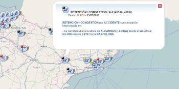 cortada, A-2, sentido, Barcelona, accidente, tráfico,