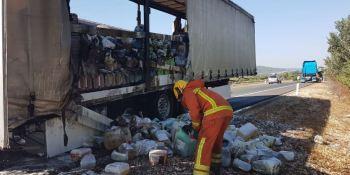 incendia, camión, productos, limpieza, A-35,