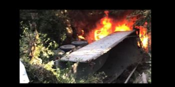herido, camionero, salida, vía, incendio, camión,