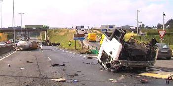 camionero, herido, aparatoso, accidente, Santiago de Compostela, vídeo,