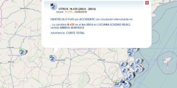 accidente, obliga, cortar, N-430, Luciana,