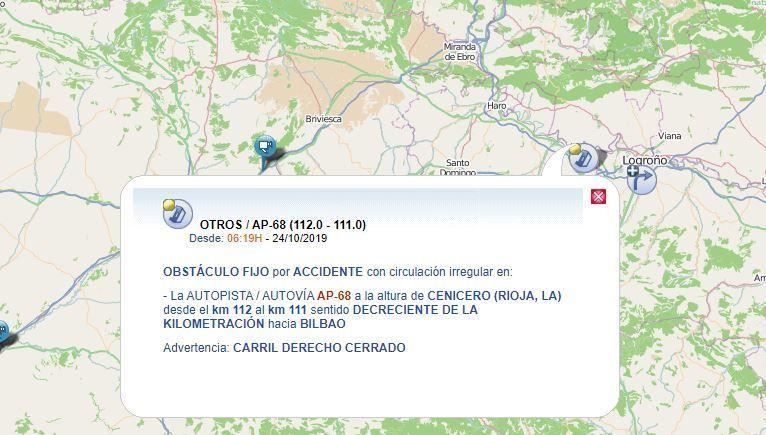 cortado, carril, AP-68, Bilbao, colisión, camiones, Cenicero,