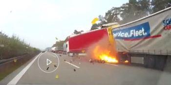 choque, camiones, autopista, Alemania,
