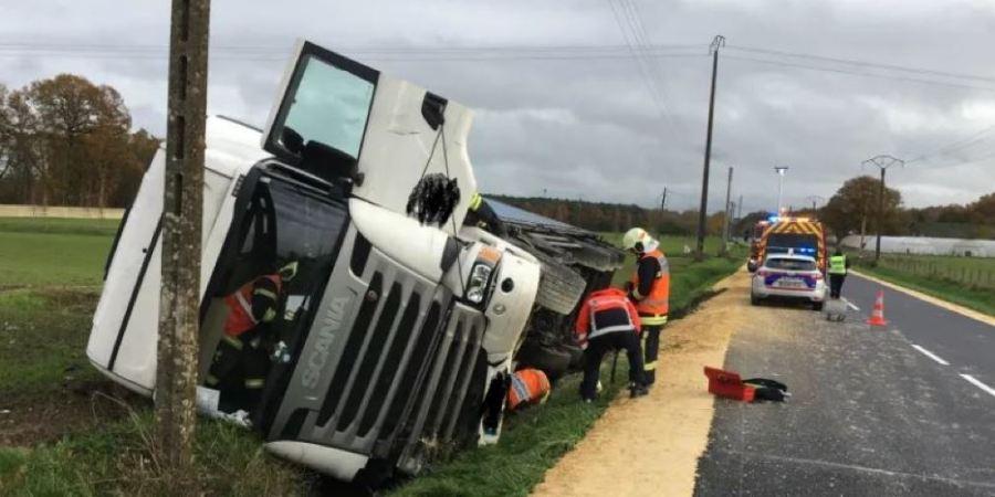 herido, camionero, español, vuelco, Francia,