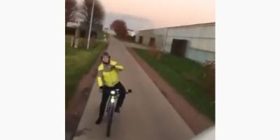 ciclista, camionero, carretera, Bélgica,