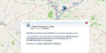 El vuelco de un camión provoca retenciones de cuatro kilómetros en Valladolid