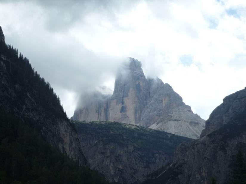 Tre Cime viste dal punto panoramico a valle