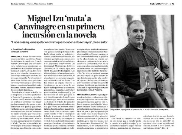 Diario de Noticias19122014 ARTÍCULO NOVELA MIGUEL IZU