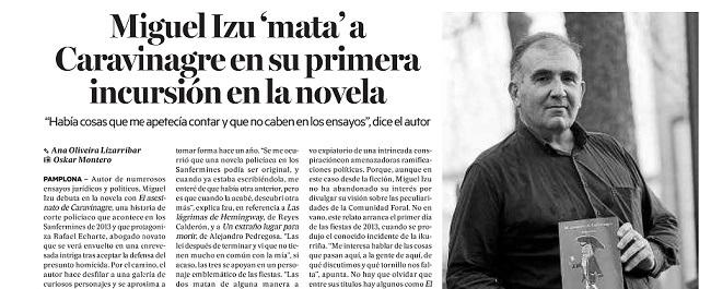 Entrevista a Miguel Izu por Caravinagre, su Primera Novela