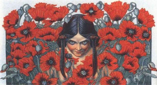 Ilustración de Carlos Schwabe para Las Flores del Mal (1900).