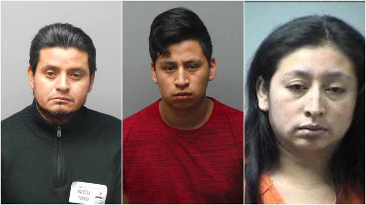 Desde la izquierda: Francisco Javier Gonzalez-López; Centro: Norvin Leonidas López-Cante; Derecha: Lesbia Cante • Foto: St. Charles Police